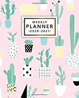 Weekly Planner 2020-2021: Cute Pink 2 Year Weekly Daily View Organizer & Agenda with To-Do's, Funny Holidays & Inspirational Quotes, Vision Boards, Notes & More | Pretty Cactus & Succulents In Pots