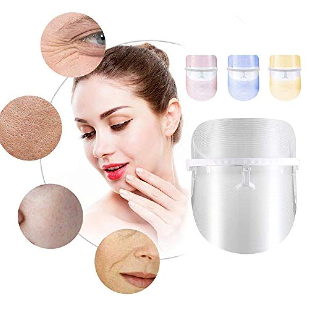 バター安価な物足りない3色LEDフェイシャルマスク美容器具光線療法赤青とオレンジの光の収縮孔は顔ケアツールを若返らせる