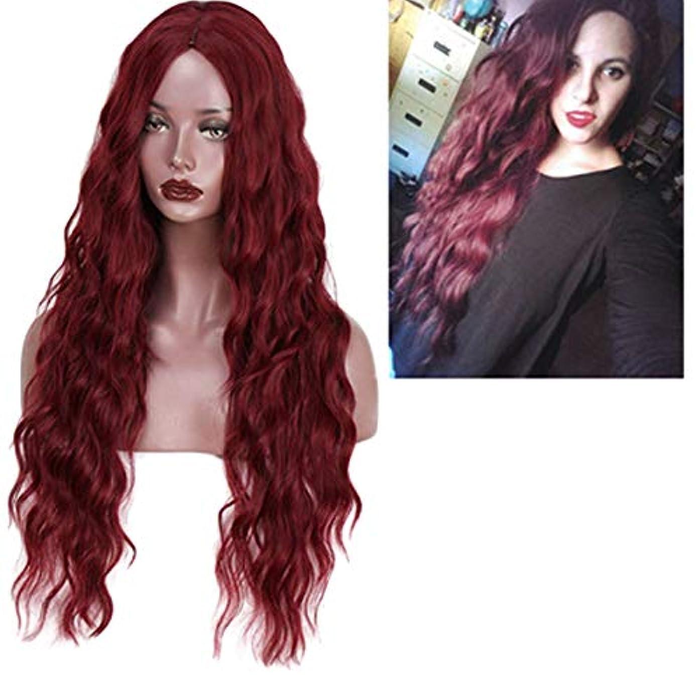 オゾン受粉するユニークなかつら女性150%密度波状の長い巻き毛の合成耐熱繊維の毛
