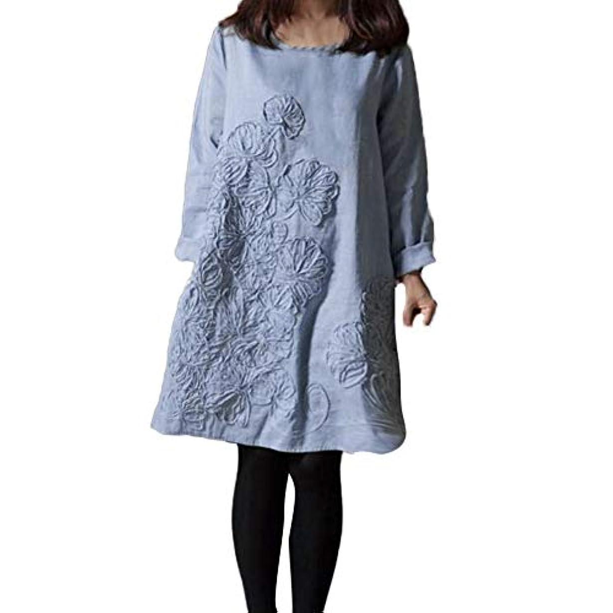 自己サイクルジャズ女性ドレス 棉麻 YOKINO 花柄 刺繍 ゆったり 体型カバー 森ガール ゆったり 着痩せ レディース白ワンピース 大人 ワンピース 春 夏 秋 ワンピース 大きいサイズ ゆったり 着痩せ