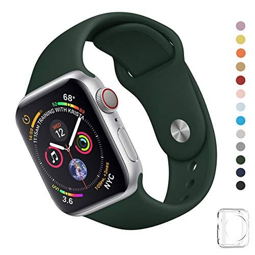 WFEAGL コンパチブル iWatch アップルウォッチ バンド アップルウォッチバンド スポーツバンド 交換ベルト 柔らかいシリコン素材 耐衝撃 防汗 apple watch series 4/3/2/1に対応 (42mm 44mm (M-L), アーミーグリーン)