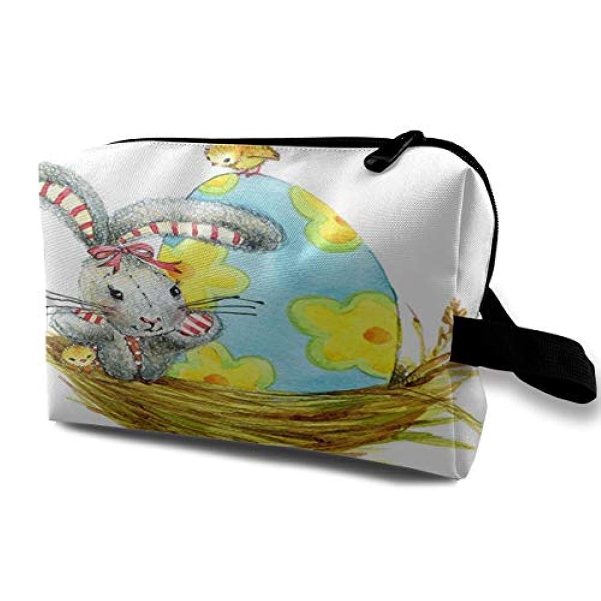 苦痛気まぐれな形状Easter Oil Painting Smile Bunny Color Egg And Butterflies 収納ポーチ 化粧ポーチ 大容量 軽量 耐久性 ハンドル付持ち運び便利。入れ 自宅?出張?旅行?アウトドア撮影などに対応。メンズ レディース トラベルグッズ