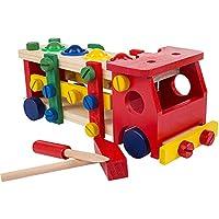 はじめての大工さんごっこ 知育玩具 大工さんセット 消防車 積み木 組み立て 木製おもちゃ 叩きボール 木製ツールボックス プレゼント ギフト