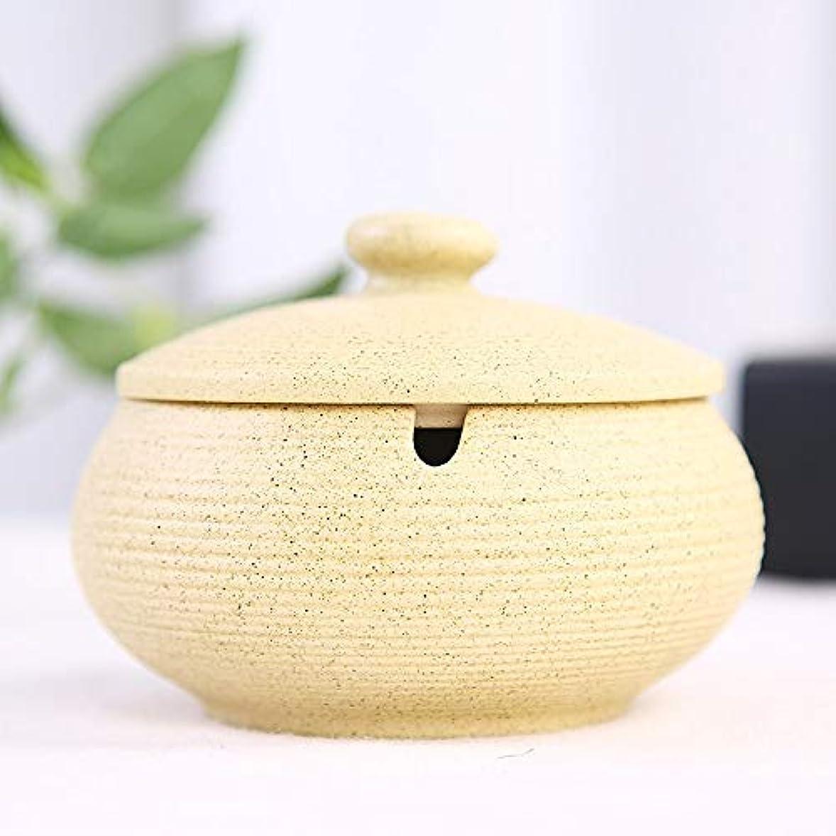 ラジカル害虫重大ふたが付いている陶磁器の灰皿、防風、喫煙者のための灰のホールダー、ホームオフィスの装飾のためのデスクトップの喫煙灰皿 (色 : ベージュ)