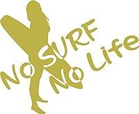 ノーブランド品 カッティングステッカー No Surf No Life (サーフィン)・11 約160mm×約195mm ゴールド 金