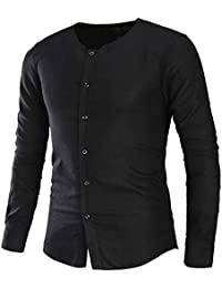 格子柄& Plainメンズ夏カジュアル襟なし長袖印刷リネンシャツビーチトップス