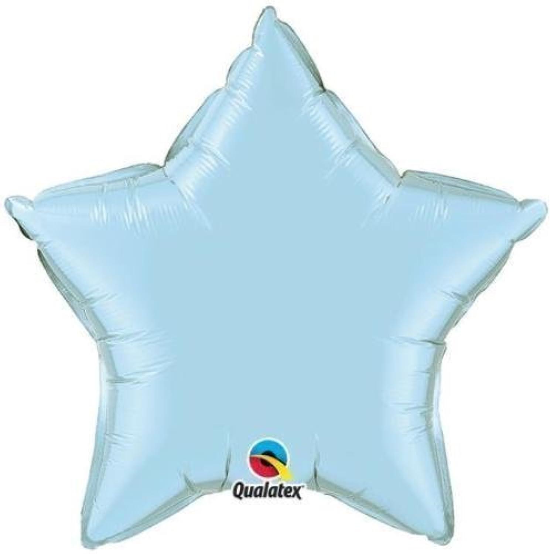 Qualatex 9インチホイル星型バルーン(パールライトブルー、5パック