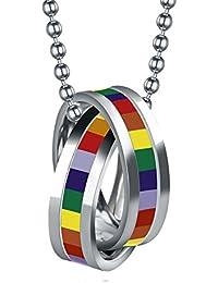 ステンレススチールレインボーダブルリングペンダントネックレスGay and Lesbian LGBT Pride