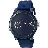 Tommy Hilfiger Men's 'Denim' Quartz Plastic and Rubber Casual Watch, Color:Blue (Model: 1791325)