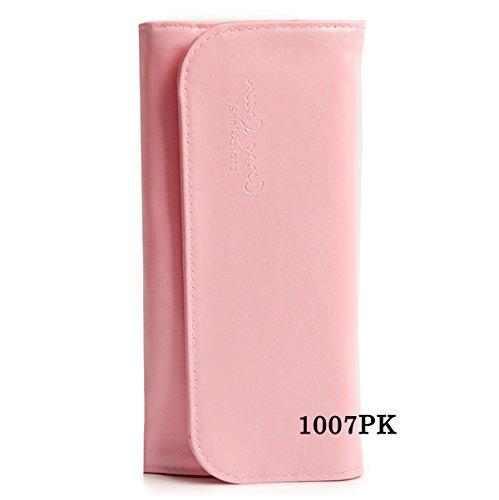 STB-1007 化粧筆ケース メイクポーチ ツィーザーポーチ ネイル筆ケース 10本収納専用ブラシケース ブラック (ピンク)