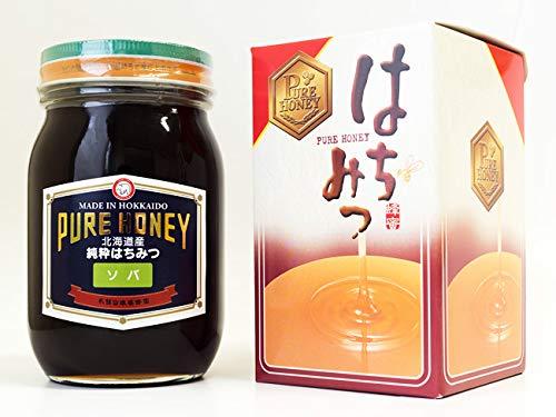 そば蜂蜜 600g (北海道幌加内産 純正ソバはちみつ 化粧箱入り) 天然そばハチミツ (PURE HONEY)