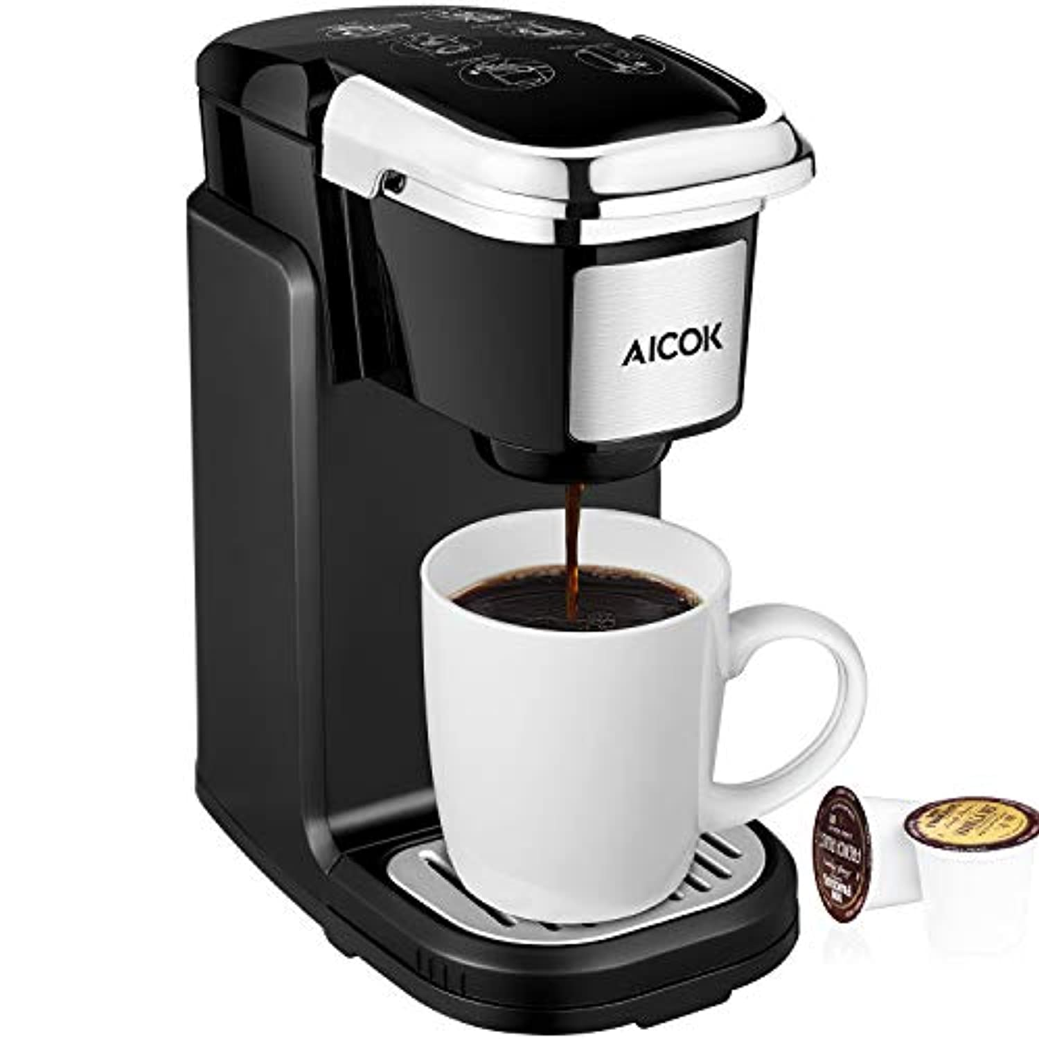 Single Serve Coffee Maker、シングルカップ旅行Coffee Brewer with Removableカバーfor most single cup Pods including k-cupポッド、...