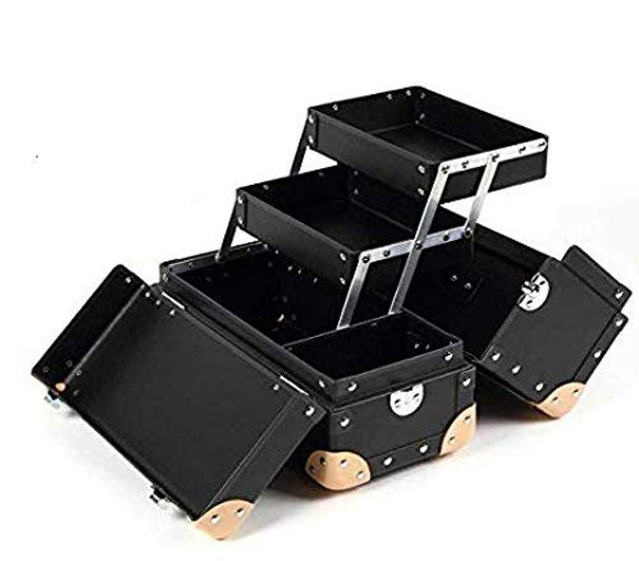 メイクボックス コスメボックス Mサイズ プロ用 [ ツール 収納 軽量 大容量] 日本製 職人手作り 【ヴォヤージュデザイン 全7色】 グラスマーブル正規品(VM ブラック)