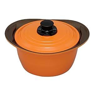 アイリスオーヤマ 両手鍋 無加水鍋 24cm 深型 IH対応 オレンジ MKS-P24D