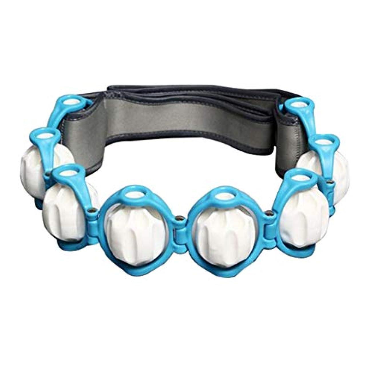 食品め言葉不定Hellery フルボディ - 多機能 - 痛みを軽減するためのハンドヘルドマッサージローラーロープ - 青, 説明したように