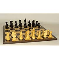 Chess Set with French Knight on Ebony and Maple Chess Board