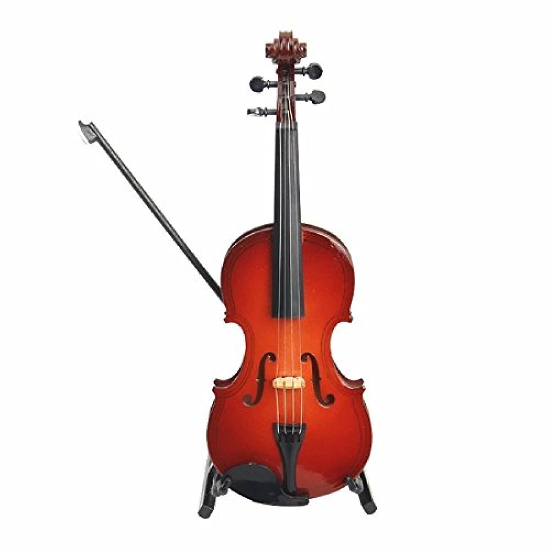 ヴァイオリンモデル、スタンドとケース付きミニチュアミニバイオリンモデル、ミニ楽器、ミニチュアドールハウスモデル、家の装飾、ファッションギフト、音楽ギフト、家具 (20 cm)