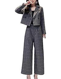 d3ef9d6223a8d6 スーヤ)Sueeya セットアップ ワイドパンツ レディース 上下セット スーツ 九分丈 グレンチェック柄 着痩せ テーラードジャケット アウター  大きいサイズ ゆったり…