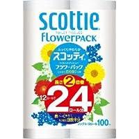花の香りつき 延べ100M巻き! シャワートイレ用に 6R換算349円!スコッティ フラワーパック 2倍巻き12ロール(シングル) 100メートル巻き 8入(2合)
