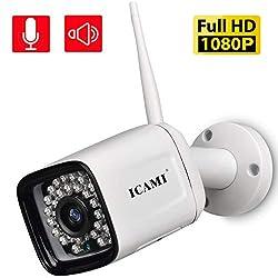 ICAMI 防犯カメラ ワイヤレス HD 1080P WiFi 屋外 無線 SDカード録画 双方向通話 監視カメラ 夜間監視カメラ 動体検知警報機能