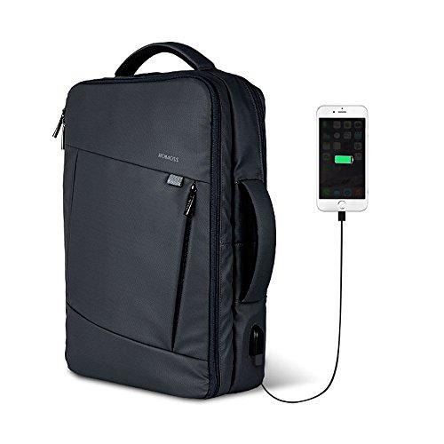 ビジネス リュック バッグ 3WAY 手提げ ROMOSS USB 充電ポート PCパソコン バックパック メンズ レディース 通勤 出張 多機能 BP01 Black...