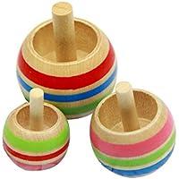 SONONIA  3枚 木製 独楽 伝統的ゲーム 反転こま 児童 おもちゃ 多彩