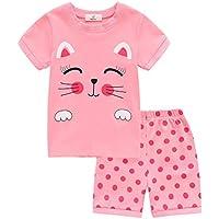 Weixinbuy Boys Girls Pyjama Set Short Sleeve Cotton Nightwear Sleepsuit 2 Pieces Summer Clothing Set