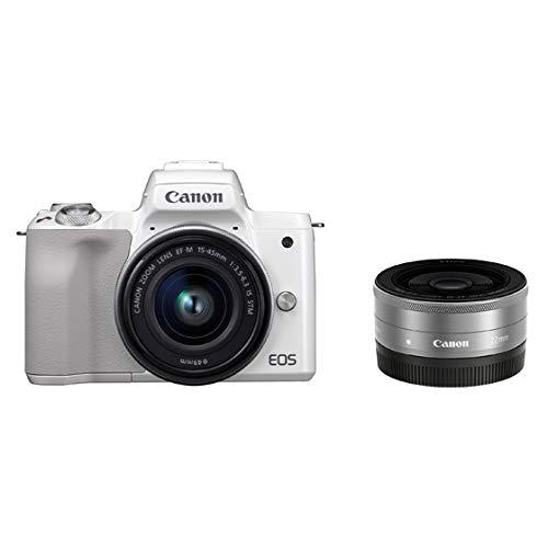 Canon ミラーレス一眼 EOS Kiss M ホワイト ダブルレンズキット EF–M22mm F2 STM/EF-M15-45mm F3.5-6.3 IS ...
