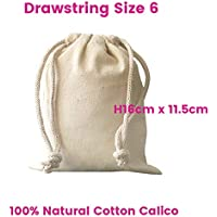Calico Drawstring Bags Food Grade Size:6, W11.5cm*H16cm 130gsm Quantity Lots of : 1,5,10,15,20,25,30,50,100,200 Bags