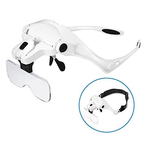 Tumao ヘッドルーペ ルーペ メガネ LED付拡大鏡 眼鏡の上装着 メガネゴムバンド両用 5レンズ交換調節 手芸読書作業