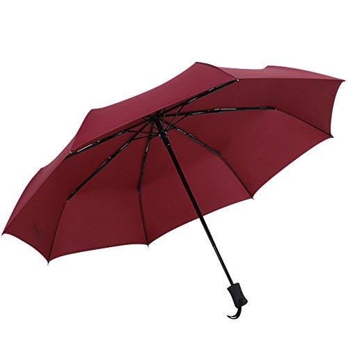 (アドンルル)adunlulu折り畳み傘 ワンタッチ自動開閉 高強度グラスファイバー 8本骨100cm 耐風撥水 晴雨兼用 軽量楽々 収納ケース付 レッド