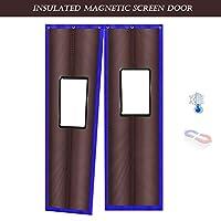 ドアカーテンGDMING コットン カーテン磁気 窓付き ヘビーデューティ 冬 空調 パネル 保温 ノイズ減少 自吸 簡単に合格 、23サイズ (Color : Brown, Size : 0.9x2.3m)