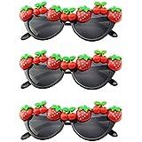 BESTOYARD 3ピースハワイアンストロベリーサングラスかわいいフルーツパーティーアイウェア面白いパーティーメガネ子供のための大人のパーティーの好意