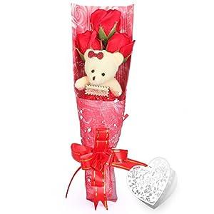 Yobansa 造花 ソープ フラワー プレゼント 枯れない お花 薔薇 花束 かわいいクマ 石鹸 バラ ブーケ プレゼント 誕生日 結婚 記念日 卒業 入学 出産 お祝い (3 本) (レッド)