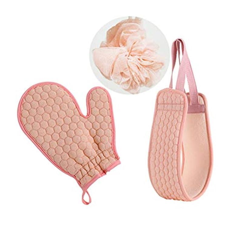 起きるテナント村ハンドタオル、手拭き用手袋、ボディタオル、ボディケア、角??質除去、入浴、皮膚軟化の3セット(ピンク)
