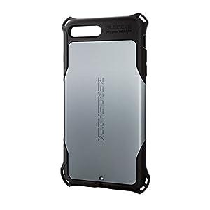 エレコム iPhone8 Plus ケース カバー 衝撃吸収 【 落下時の衝撃から本体を守る 】 ZEROSHOCK スタンダード 衝撃吸収 フィルム付 iPhone7 Plus対応 シルバー PM-A17LZEROSV