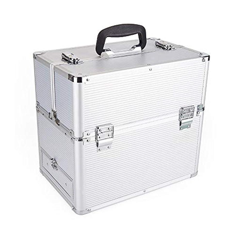 くるみ労苦空白化粧オーガナイザーバッグ 2つの層アルミニウム化粧箱オーガナイザーバニティロック可能な美容メイクアップネイルジュエリーポータブルケース収納ボックス 化粧品ケース
