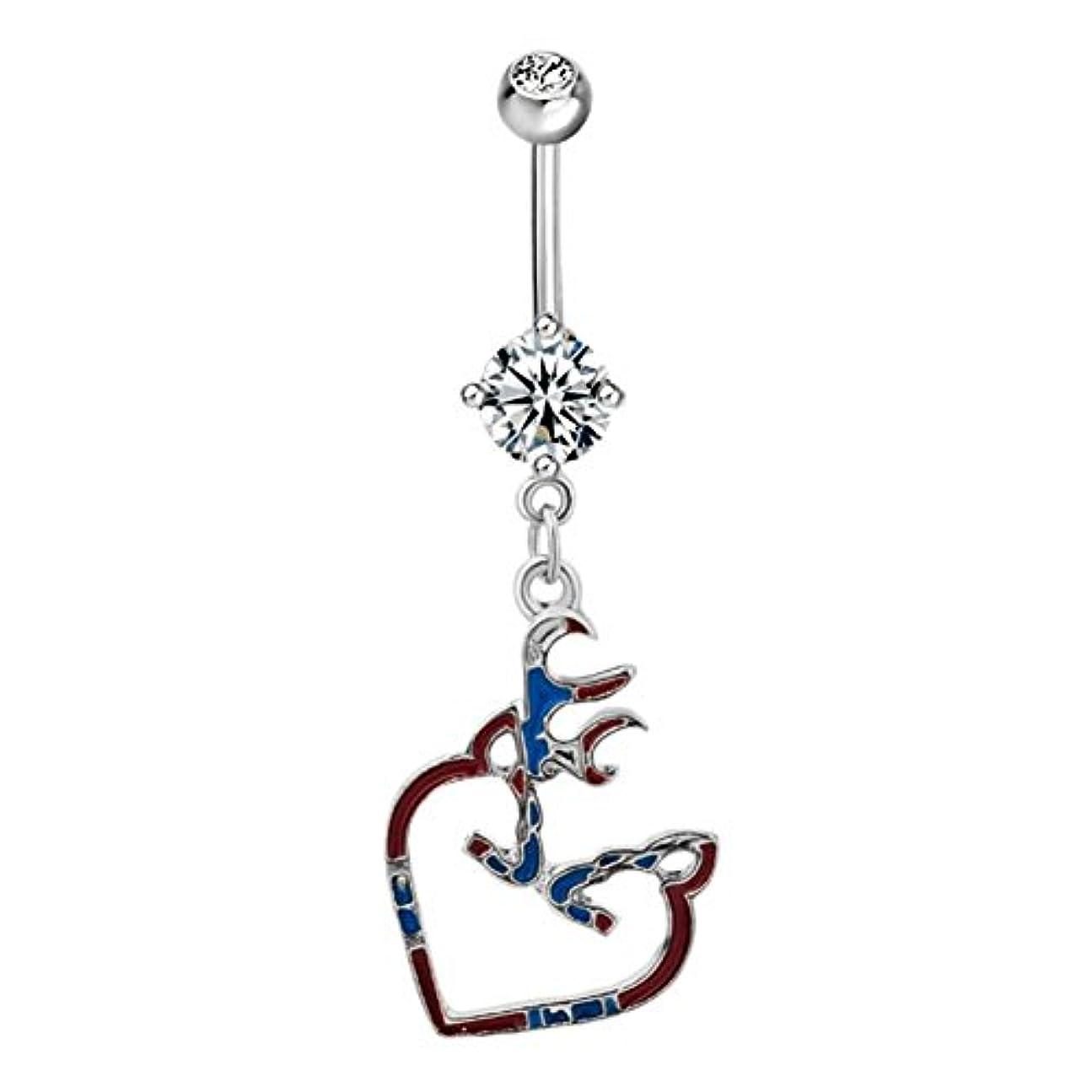 ビジョン囲い敗北luckyjewelryハートベリーボタンセクシーキュートリングダングル316lサージカルスチールボディジュエリーピアス