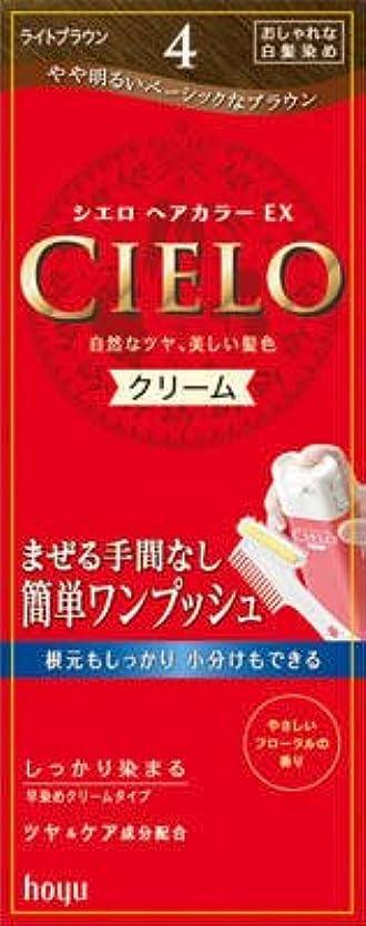 藤色結論ミンチホーユー シエロ ヘアカラーEX クリーム4 (ライトブラウン)×27点セット (4987205284649)