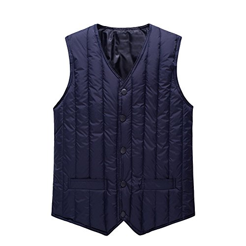 [RSWHYY] メンズ 秋 冬 ダウンベスト アウトウェア 中年 防寒 防風 軽量 バスト 袖なし コート 暖かい アウター 内着としてもOK 無地 修身 軽量 敬老の日 お父さん 普段使い ブルー 3XL