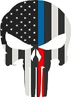 """5""""スカルパニッシャーシンブルーレッドラインBW Flag Police Fire Law Enforcement"""