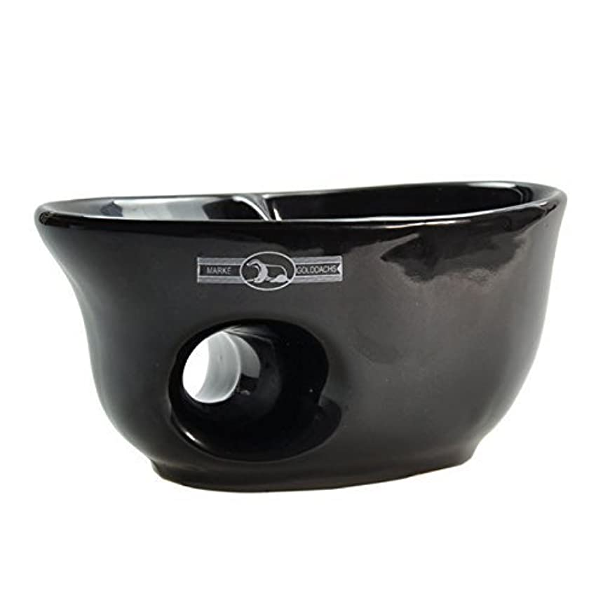 合成存在めんどりGolddachs shaving pot, porcelain with finger hole, black