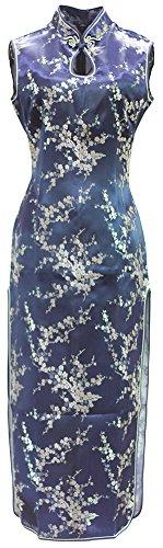 [해외]7Fairy 여성 감청 旗袍 치파오 꽃 긴 긴 열쇠 구멍/7 Fairy Ladies Primary Blue Flag China dress flower long long keyhole