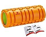 DB Praise フォームローラー Foam Roller 9色 スポーツ トレーニング ストレッチ 器具 解説書付き (Orange&Green)