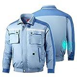 空調服 ファン バッテリー セット ボタンで制御する長袖の作業服 熱中症対策 扇風機と電池入り (ブルー, L)