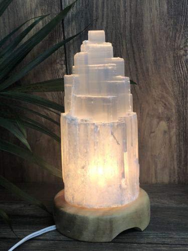 8インチ セレナイトランプ コード付き セレナイトタワーランプ クリスタルランプ 宝石マウンテンランプ 1個