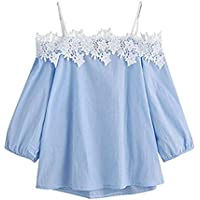 Women Sweet Off-Shoulder Lace Top Girls Sling Long Sleeves Blouse Pullover