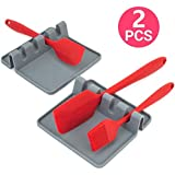 2PCS Heat-Resistant Environmental Spoon Rest, Silicone Utensil Rest with Drip Pad for Multiple Utensils, Kitchen Utensil Holder for Spoons, Ladles, Tongs Gray