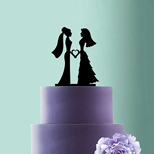 Personalized Mrs and Mrsウェディングケーキトッパー、Lesbian Couple Bridesシルエットケーキトッパー、Girl Girl Love Romantic Wedding Cake Decor。