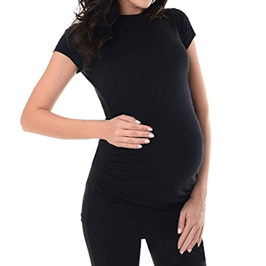 SakuraBest Pregnant Women's Summer Short Sleeves Maternity Solid Long T Shirt